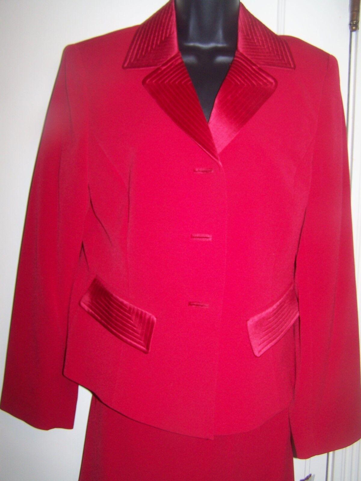 Evan-Picone Cherry Red Blazer & Skirt Suit Satin Collar Size 10 NWT H2ii