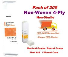 200 Ct 2x2 Non Woven 4 Ply Non Sterile Dental Gauzefirst Aidmedical Grade