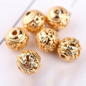 10pcs-Copper-Gold-Plating-Jewelry-Charms-8mm-Hollow-Spacer-Beads-Round