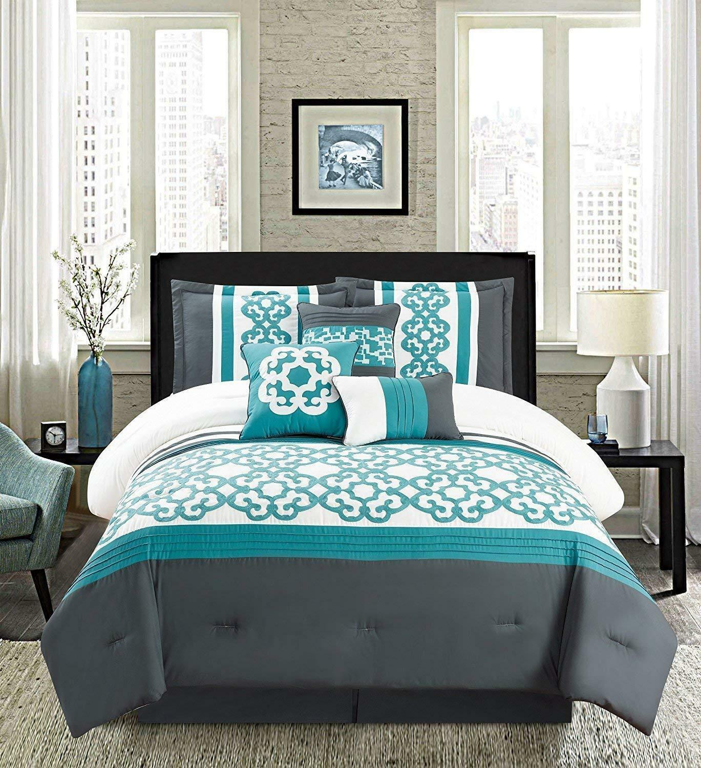 golden Linens Turquoise White 7 Pcs Embroidery Comforter Se