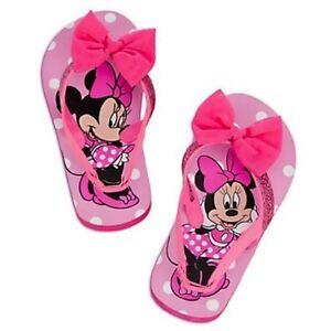 b7483e1cb2d Disney Minnie Mouse Pink Bow Flip Flops Shoes Sandals Back Straps ...