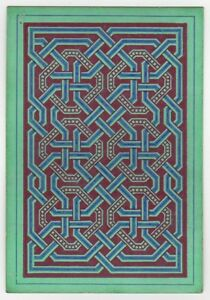 Playing-Cards-1-Swap-Card-Old-Antique-Wide-Square-Corner-GEOMETRIC-LINKS-green