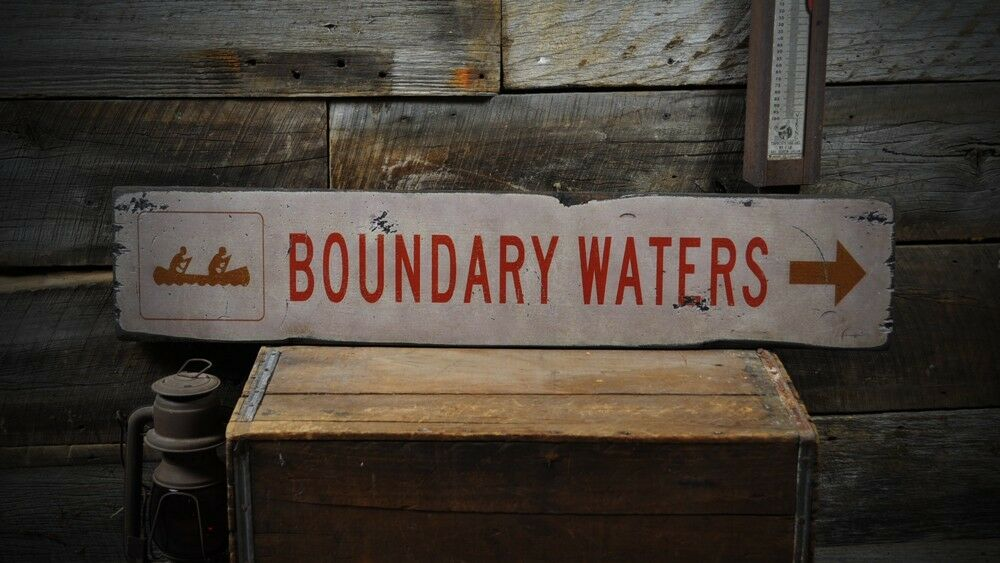 Boundary Waters Canoe Wood Sign - Rustic Hand Made Vintage Wooden ENS1000199