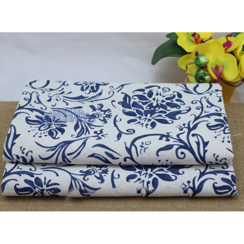 Porcelain Flower Cotton Linen Fabric Floral on Natural Chinese Craft Blue White