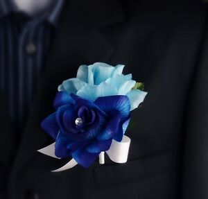 Baby Blue Royal Blue-Corsage Boutonniere-Wedding event meeting-Pin ...