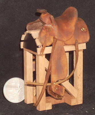 Dollhouse Miniature ONE 1 Western Hair Brown Vary Saddle Stand 1:12 Cowboy Horse