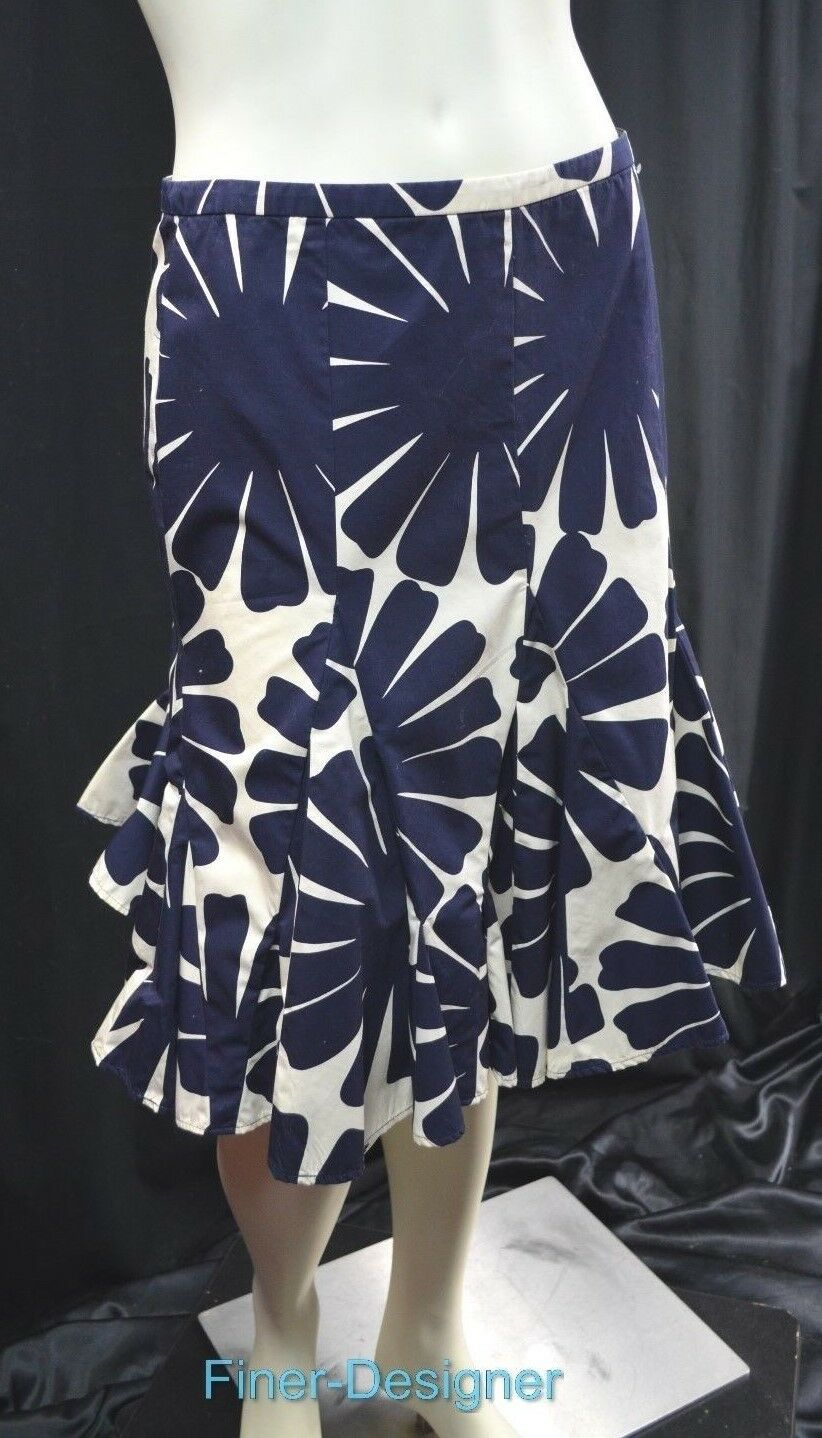 J.Crew Womens Fit Flare Skirt Navy bluee cream Floral 100% Cotton flirty 4 NEW