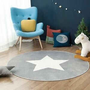 stern fu matte rund teppich kinderzimmer weich pl sch anti rutsch kinderteppich ebay. Black Bedroom Furniture Sets. Home Design Ideas
