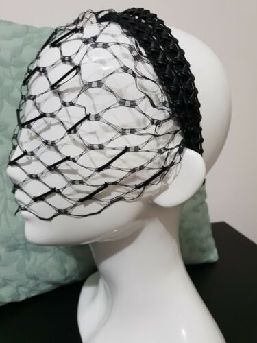 ???MIMCO STROKE OF VEIL BLACK HEADBAND HAIRPIECE FASCINATOR RACER ???