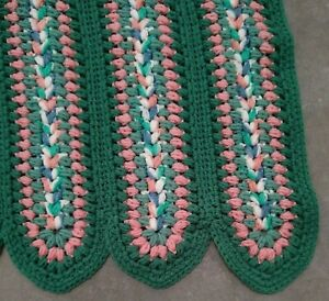Hand-Crocheted-Afghan-Blanket-Colorful-67-034-x-46-034-Turqoise-pink-white