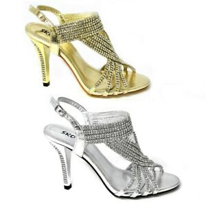 ad6be6f240e Details about NEW LADIES WEDDING PROM EVENING PLATFORM SHOES DIAMANTE MID  HEELS SIZE 3-8