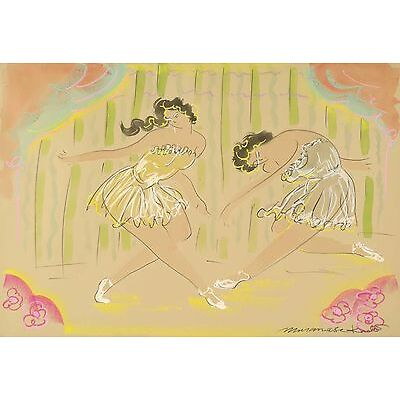 Muramasa Kudo - Duet, conte crayon, pastel, and india ink on paper, Framed