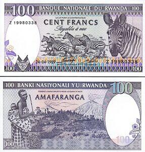 Rwanda 100 Francs x 10 Pcs 1989 P-19 Zebra Unc