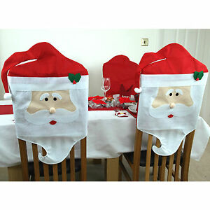2 x Santa Dining Chair Covers Father Christmas Decorations Xmas ...