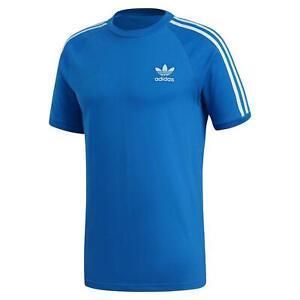 Adidas-Originaux-HOMME-3-Rayure-T-Shirt-Azure-Ras-Cou-Retro-Trefle-Ete