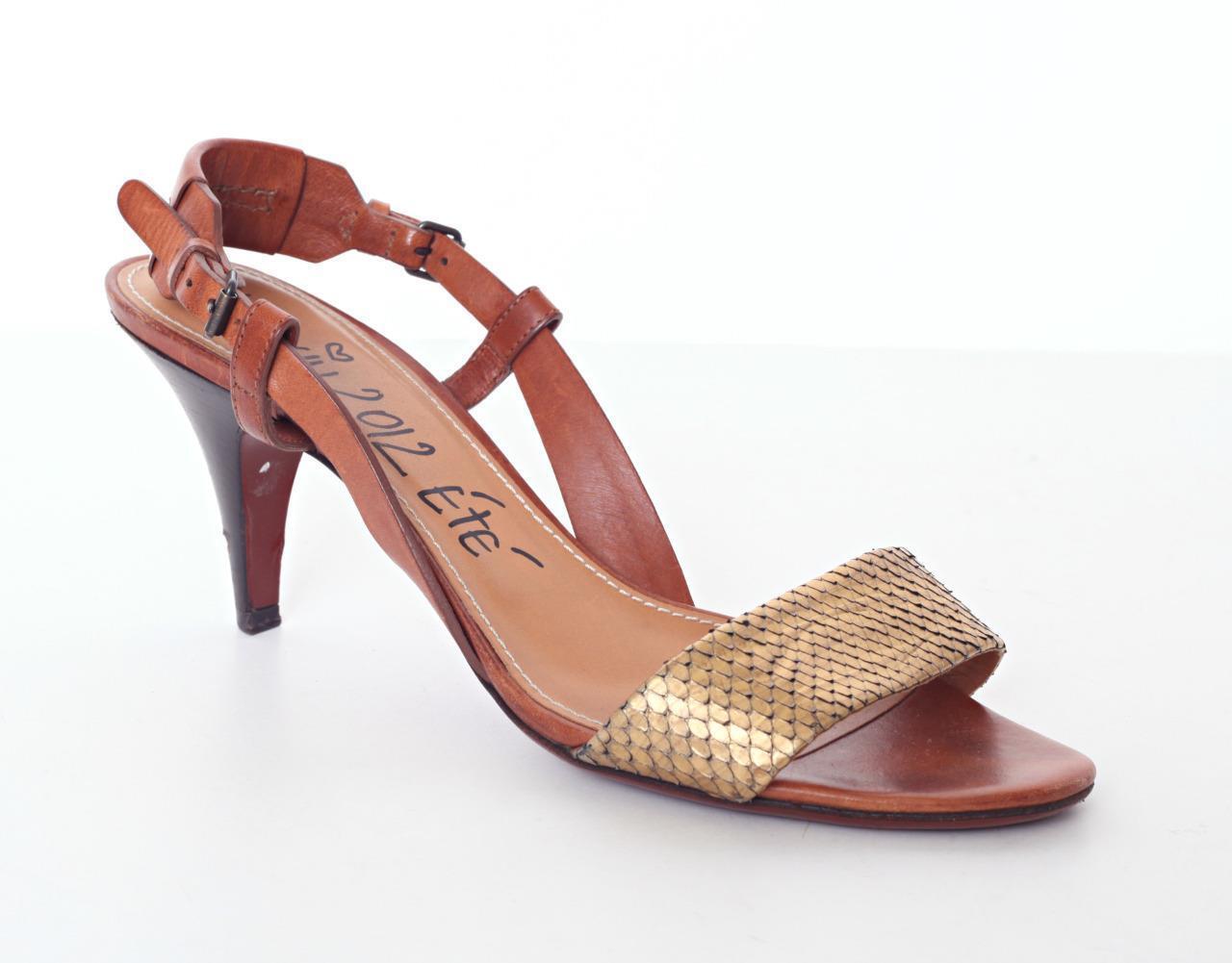 LANVIN Tan & Gold Snake Print Leather High Heel Slingback Sandal Pump 10-40