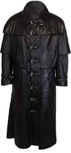 Herren Echt Schwarz Leder Van Helsing Kittel Gesamtlänge Mantel
