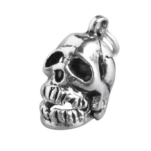 Human Skull Charm Sterling Silver .925 Moving Jaw Skeleton Halloween