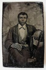 FERROTYPE AMERICAN AFRICAN PHOTO HOMME NOIR BLACK MAN PHOTOGRAPHIE ANCIENNE O778