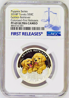 2018 Puppies Golden Retriever Proof Silver Ngc Pf69 1/2oz Coin Lunar Year Dog Fr Commemorative