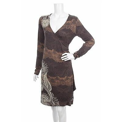DESIGUAL WOMEN CASUAL DRESS  Size M BROWN MULTI COLOR LACE MADE IN SPAIN V NECK