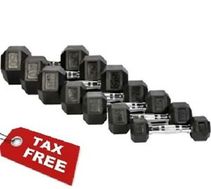 Hex-Dumbbells-Rubber-Coated-Weight-Set-Of-2-Cast-Iron-Home-Gym-Chrome-5-60-Lbs