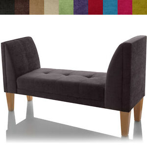 New fabric bench chaise lounge longue small buttoned for Chaise longue window seat