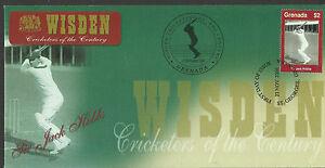 GRENADA-WISDEN-2000-CRICKET-SIR-JACK-HOBBS-1v-FIRST-DAY-COVER-No-3-of-4