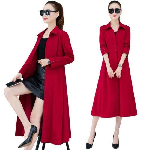 Women Windbreaker Long Single-breasted A-Line Coat Jacket M-4XL Dress Leisure D