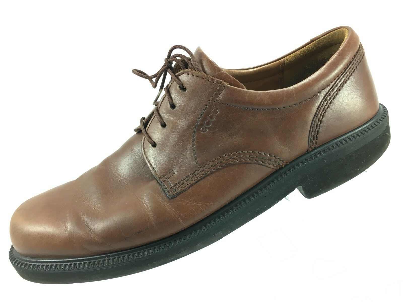 SH11 Ecco EUR 43 US 9-9.5 Brown Leather Plain Toe Derby Oxford Casual Shoes