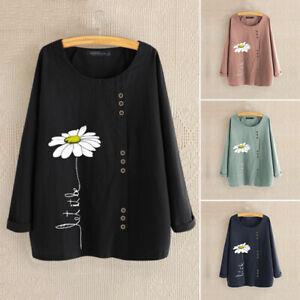 ZANZEA-Femme-Shirt-imprime-Manche-Longue-Loisir-Ample-Casuel-Tops-Chemise-Plus