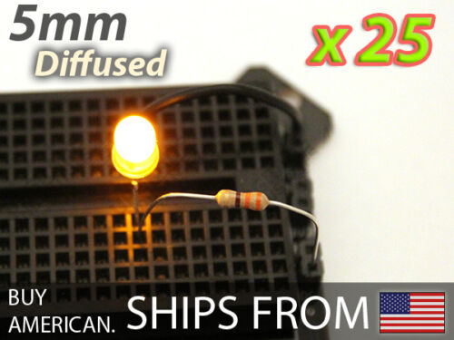 Yellow 5mm LED Diffused 1.8V 25x