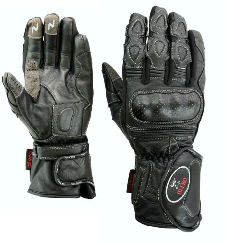 ISLERO Leather Thermal Winter Motorbike Motorcycle Gloves Carbon Fiber Knuckles