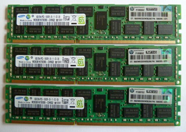 HP 32GB (4x8GB)  DELL 500205-071 PC3-10600R  DDR3 1333MHz ECC Memory