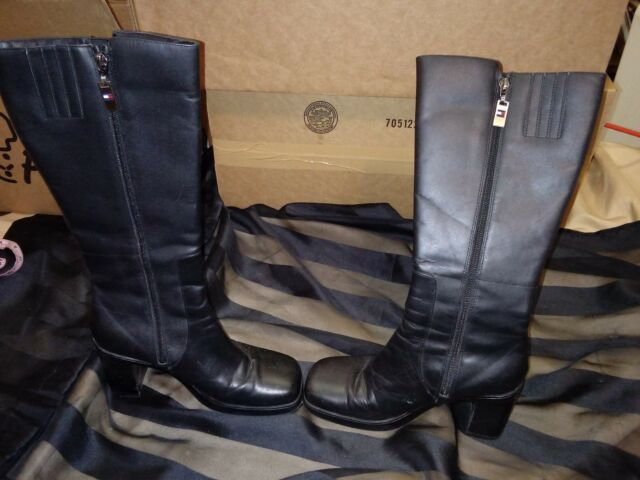 7b95883d5 Frequently bought together. Vintage 90 s Women s Tommy Hilfiger Knee High  Block Heel Black Leather Boots 7M