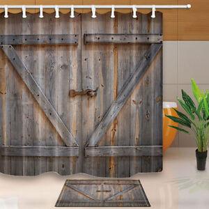 Image Is Loading Country Decor Old Wooden Garage Door Vintage Shower