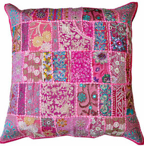 On Sale 24x24 Indian Patchwork Pillow Cover Pink Bohemian Pillow ...