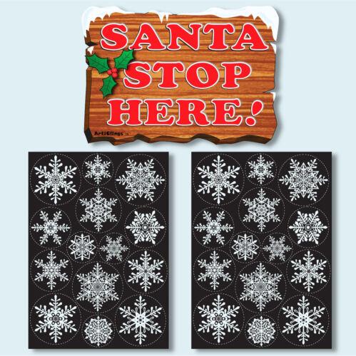Santa Stop Here Sign Vinyl Window Sticker Snowflake Clings Christmas Decorations