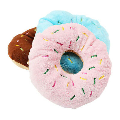Round Sahpe Pet Dog Cat Play Chew Donut Squeaky Squeaker Sound Toy Cute New