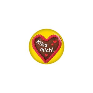 Lebkuchenherz Küss mich Button 37mm Oktoberfest Wiesn Kiwikatze® Volksfest