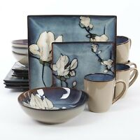 Gibson Bloomsbury Floral Dinner Dinnerware Set Square Plates Bowls Mugs