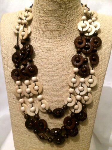 STATEMENT Long Big Large Brown Cream MULTI COLOURED Multi Strand Beaded Necklace