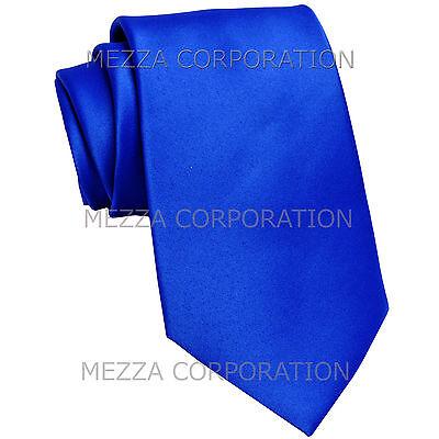 New Vesuvio Napoli Men/'s extra long necktie solid 100/% polyester prom Royal Blue