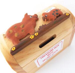 Details About Wooden Pig Treasure Chest Money Box Treasure Box Secret Lock Handmade