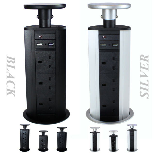 Pop & Pull Up Power Pod Unit Kitchen Desk Worktop Socket Extension Lead Plug
