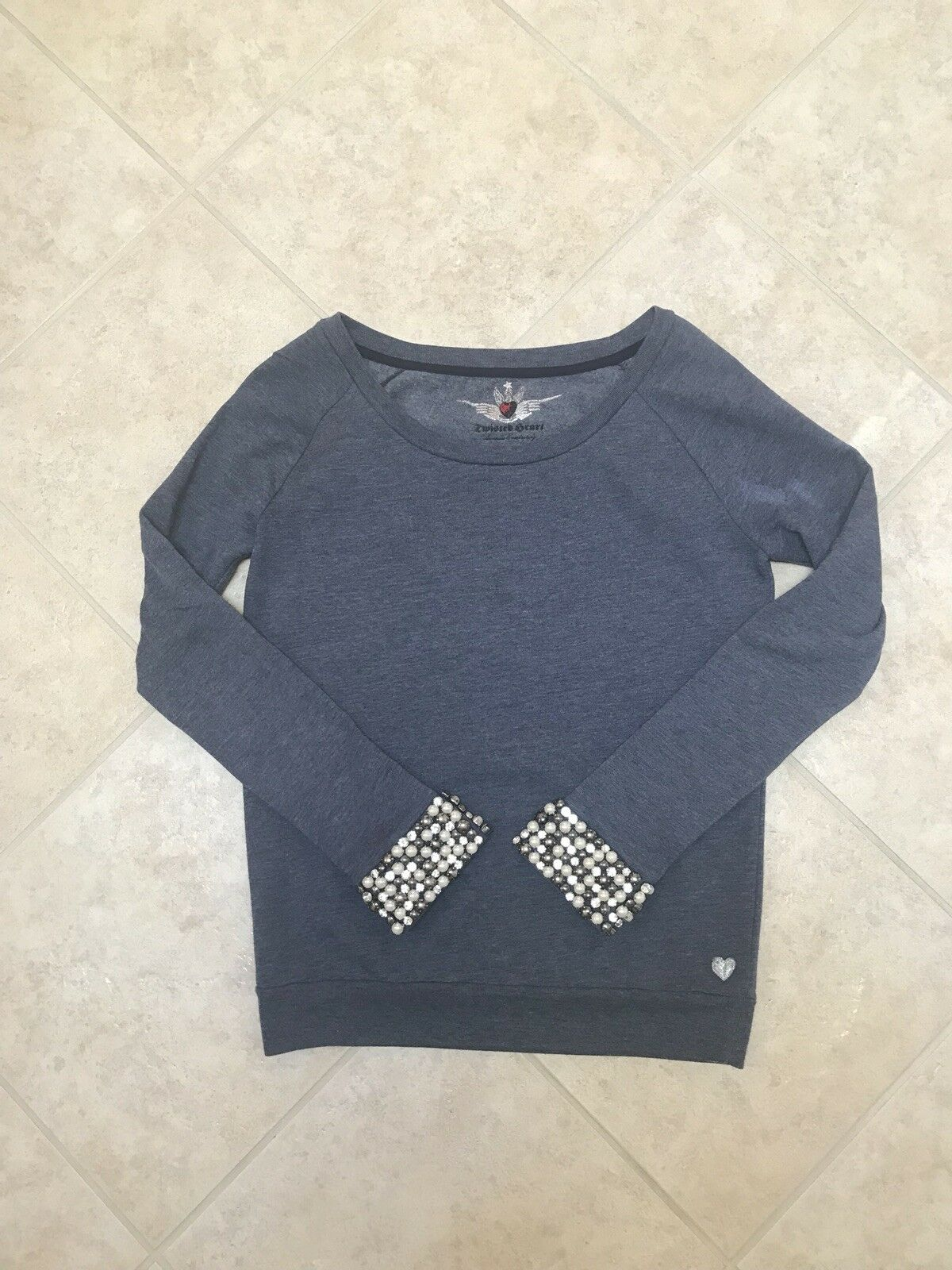 Twisted Heart  Crystal And Pearls Long Sleeve Sweatshirt Size S