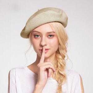 bca232f3521fd Beret Hats for Women Khaki Beanie Fashion Winter Artist French ...