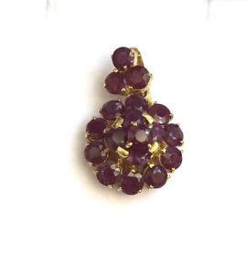 14k-Solid-Yellow-Gold-Cluster-Flower-Pendant-Natural-Ruby-3-90-Grams