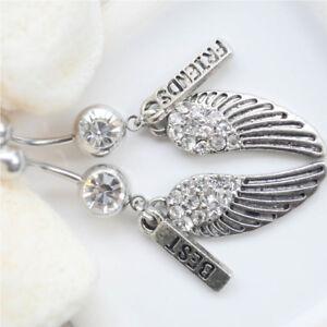 Steel-2pcs-Body-Piercing-Belly-Button-Best-Friends-Wings-Dangle-Navel-Ring