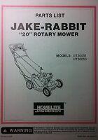 Homelite Jacobsen 20 Jake-rabbit Ut30051 Walk Behind Lawn Mower Parts Manual 8p